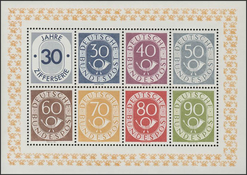 Sonderdruck Ziffern Posthorn 30 bis 90 Pf - Faksimile gelber Rand 1982