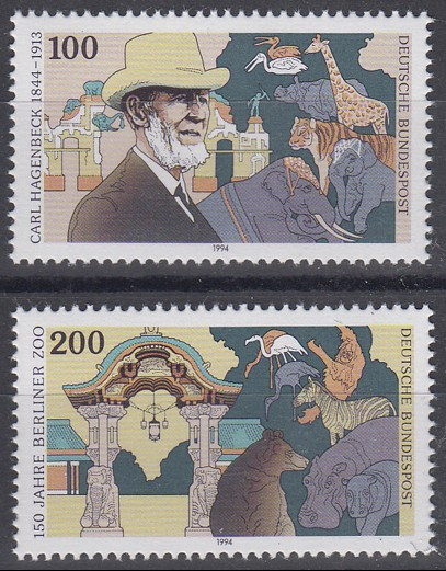 1734-1735 Einzelmarken aus Block 28 Carl Hagenbeck & Berliner Zoo 1994, Satz **