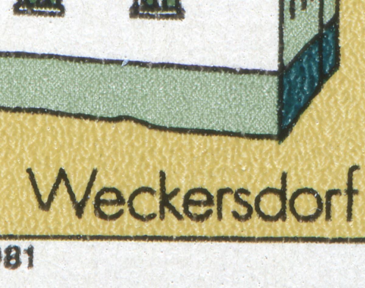 2625I Weckersdorf: unten beschädigtes W in Weckersdorf, Feld 38 **