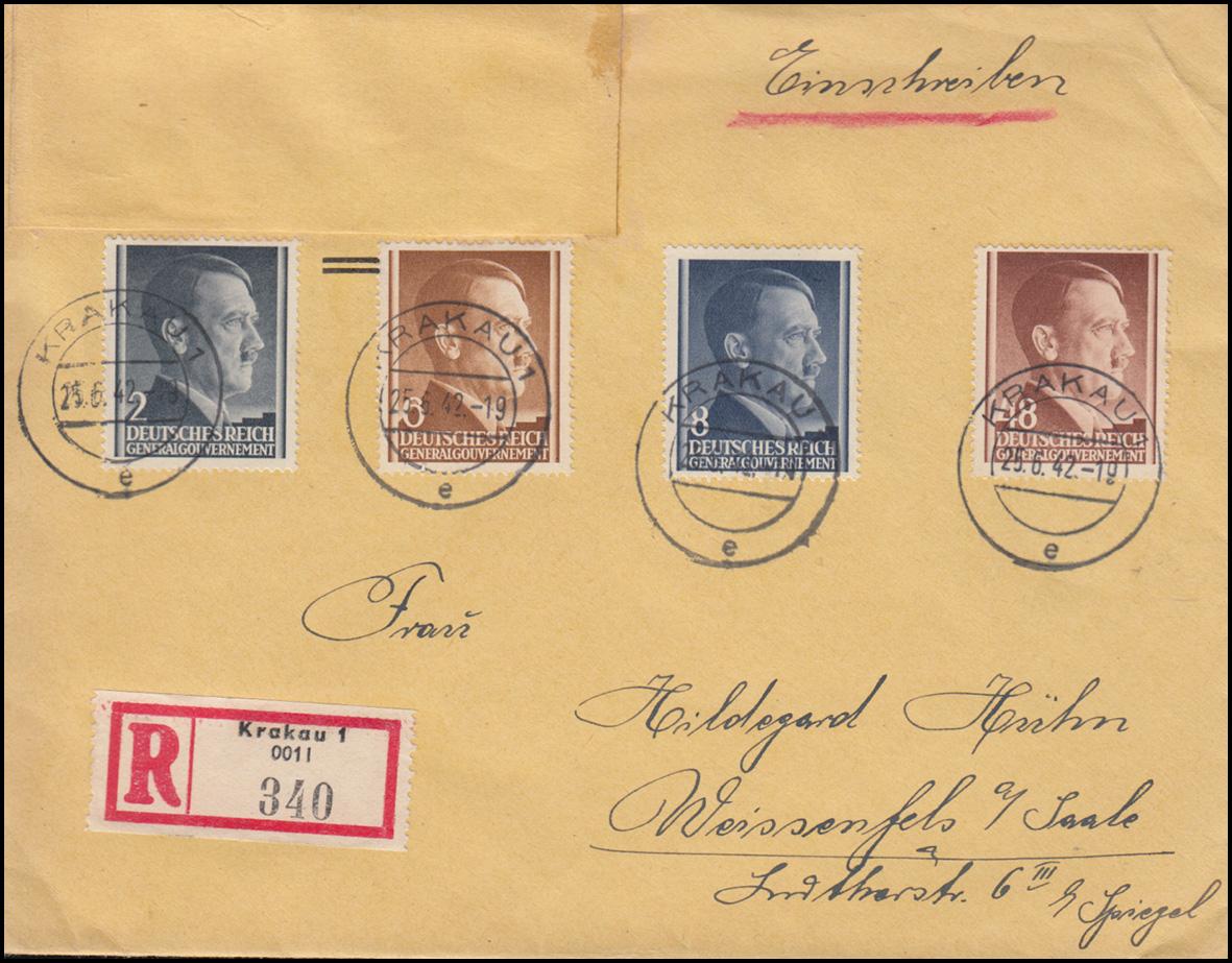 Generalgouvernement 71ff Freimarken auf R-Brief KRAKAU 25.6.42 nach WEISSENFELS