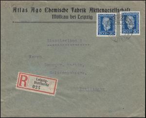 Firmenlochung AGO auf 2mal 369 Weltpostverein R-Brief LEIPZIG-STÖTTERITZ 25.6.25