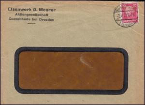 Firmenlochung EM auf Friedrich der Große 10 Pf EF auf Brief COSSEBAUDE 3.6.27