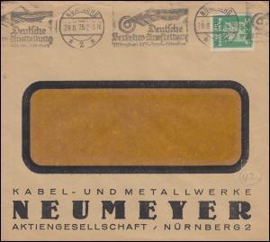 Firmenlochung KMN auf 356 Adler EF auf Fensterbrief NÜRNBERG Ausstellung 29.8.25