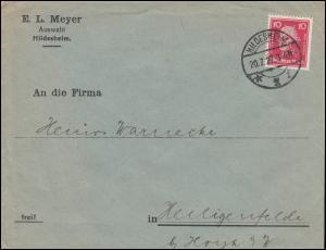Firmenlochung MA auf Friedrich der Große 10 Pf. EF auf Brief HILDESHEIM 20.7.27