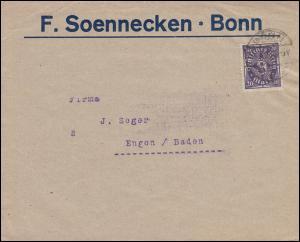 Firmenlochung F.S. auf 230 Posthorn 20 Mark EF auf Drucksache BONN 1923 n. Engen