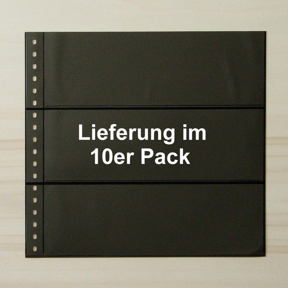 LINDNER Omnia Einsteckblatt 03 schwarz 3 Streifen - 10er-Packung