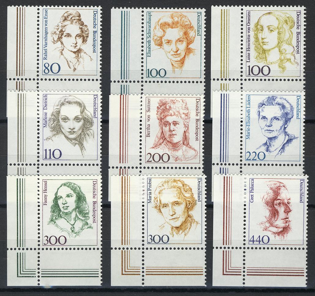 1433ff Frauen aus Zehnerbogen in DM 9 Werte Ecke unten links **