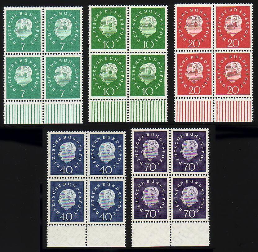302-306 Heuss 5 Werte, Unterrand-Viererblock, Satz **