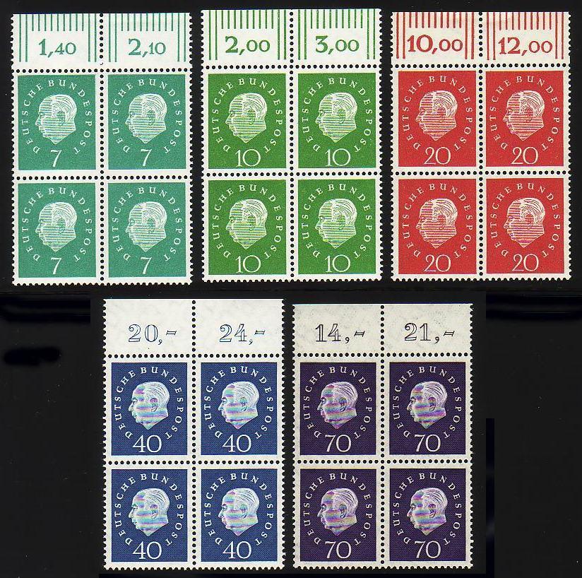 302-306 Heuss 5 Werte, Oberrand-Viererblock, Satz ** 0