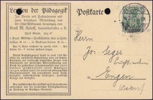 Firmenlochung H auf Germania 5 Pf als EF auf Postkarte FREIBURG/BREISGAU 16.8.15
