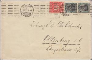 Firmenlochung C.H. auf Germania und Gewerbeschau Brief FRANKFURT/MAIN 15.8.22