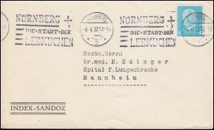 Firmenlochung FA auf 454 Hindenburg 4 Pf. als EF auf Drucksache NÜRNBERG 6.4.32