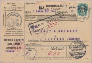 Firmenlochung BASF. auf 129+137I Abschiedsserie Paketkarte LUDWIGSHAFEN 18.9.20