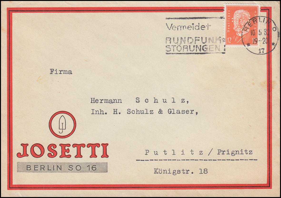 Firmenlochung JOS auf 466 Hindenburg 12 Pf. als EF auf Brief BERLIN 10.5.32