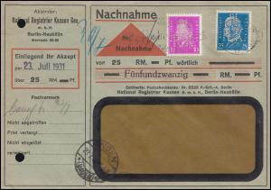 Firmenlochung N.R.K. auf 416 Ebert + 435 Hindenburg MiF NN-Brief BERLIN 23.7.31