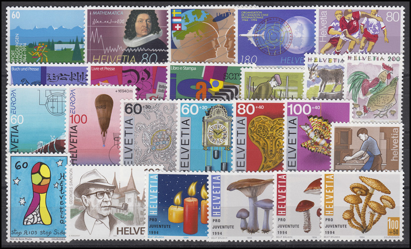 1516-1539 Schweiz-Jahrgang 1994 komplett, postfrisch **