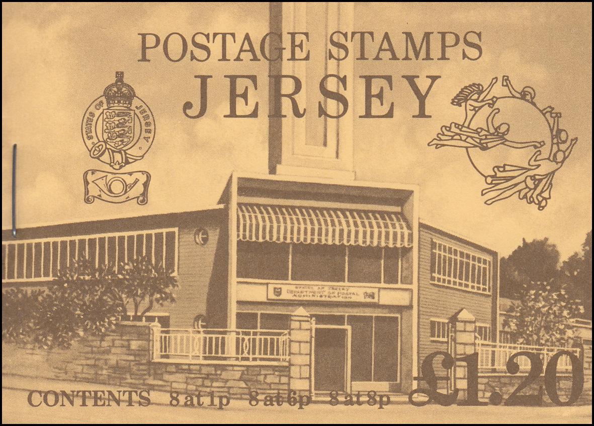 Jersey Markenheftchen 0-20, Hauptpostamt UPU-Emblem, **