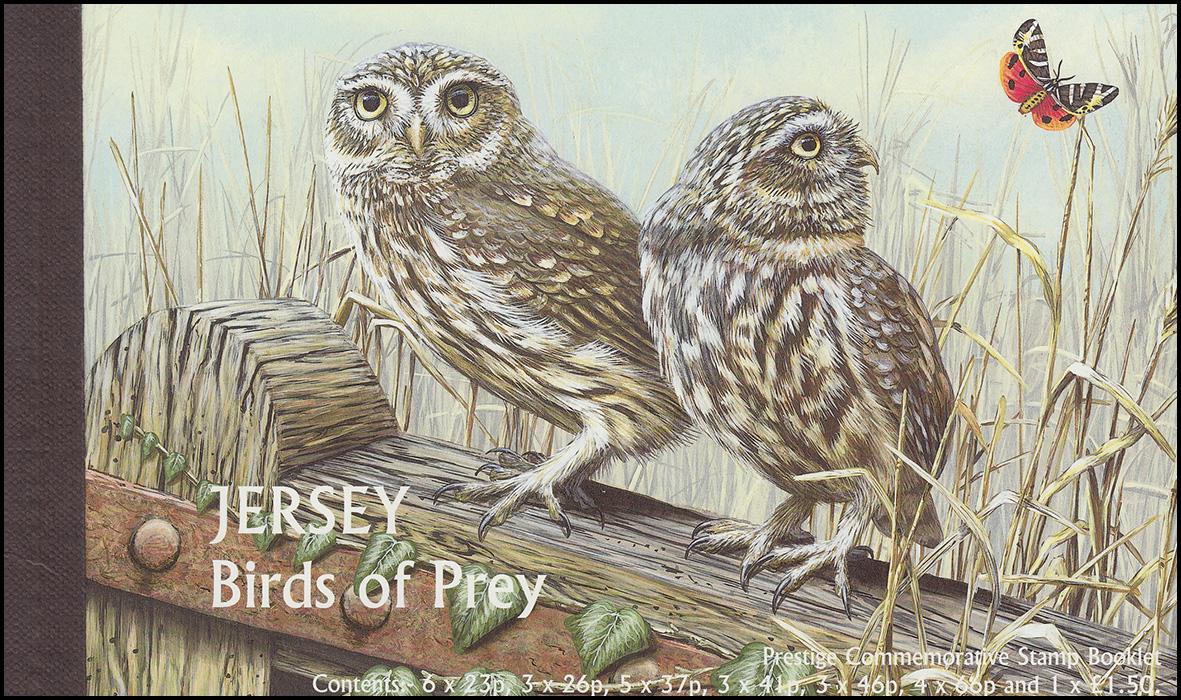 Jersey Markenheftchen 14, Raubvögel Birds of Prey, ** postfrisch