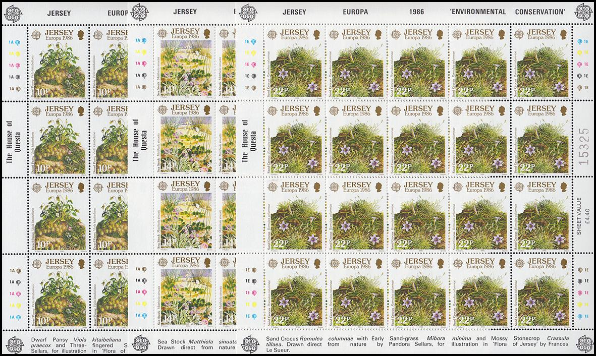 Jersey 378-380 Europa Natur- und Umweltschutz, Kleinbogen-Satz **