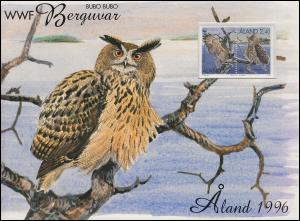 Aland 1996 WWF-Mappe Naturschutz - Der Uhu 109-112, mit MH 4, MK und FDC