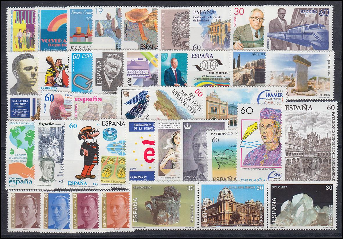 3193-3256 Spanien-Jahrgang 1995 mit Block 56-61 komplett, postfrisch **