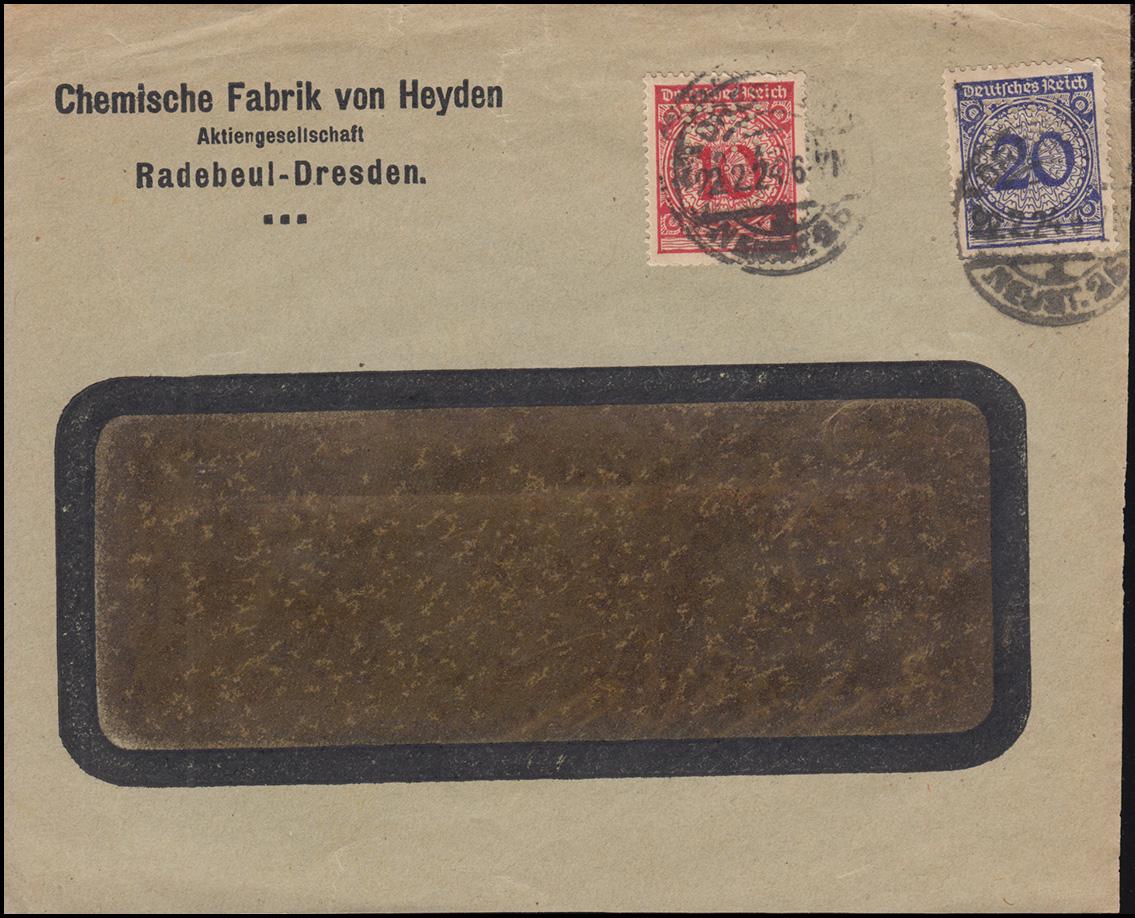Firmenlochung PK auf 340 und 341 auf Briefvorderseite DRESDEN-NEUSTADT 22.2.24
