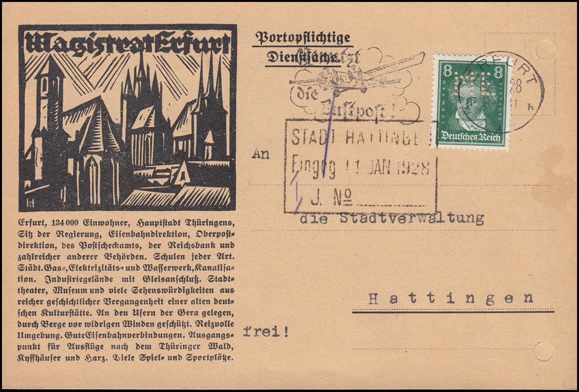 Firmenlochung ME auf 389 Beethoven 8 Pf. als EF auf Postkarte ERFURT 10.1.28