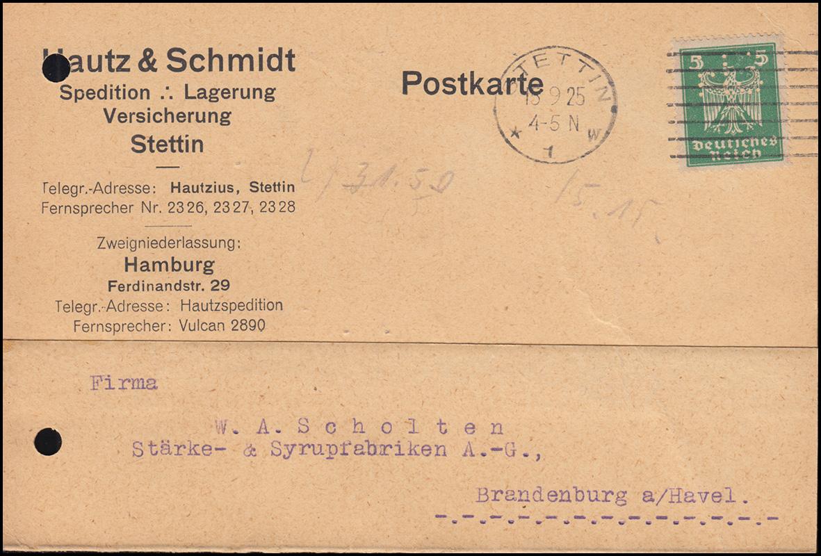 Firmenlochung HS auf 356 Adler 5 Pf. als EF auf Postkarte STETTIN 15.9.25
