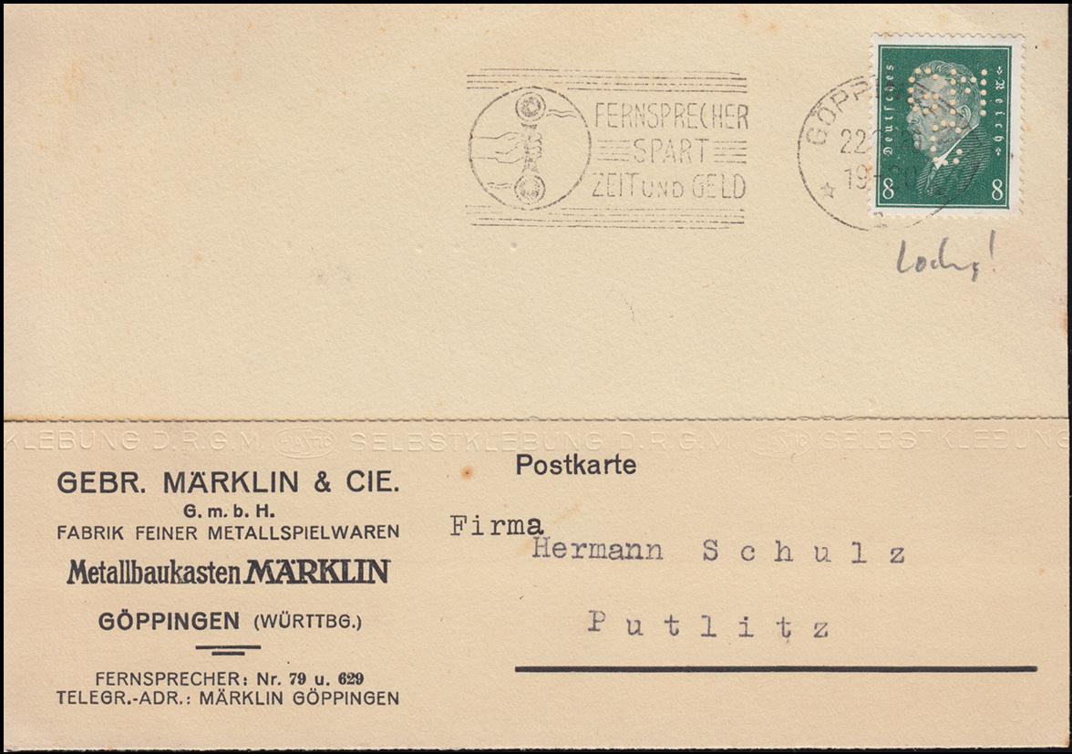 Firmenlochung GMC auf 412 Ebert 8 Pf. als EF auf Postkarte GÖPPINGEN 22.8.30