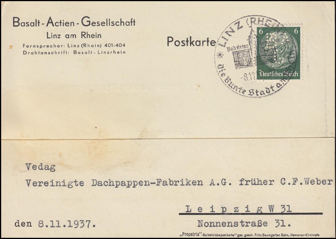 Firmenlochung BAG auf Hindenburg 6 Pf. als EF auf Postkarte SSt LINZ 8.11.37
