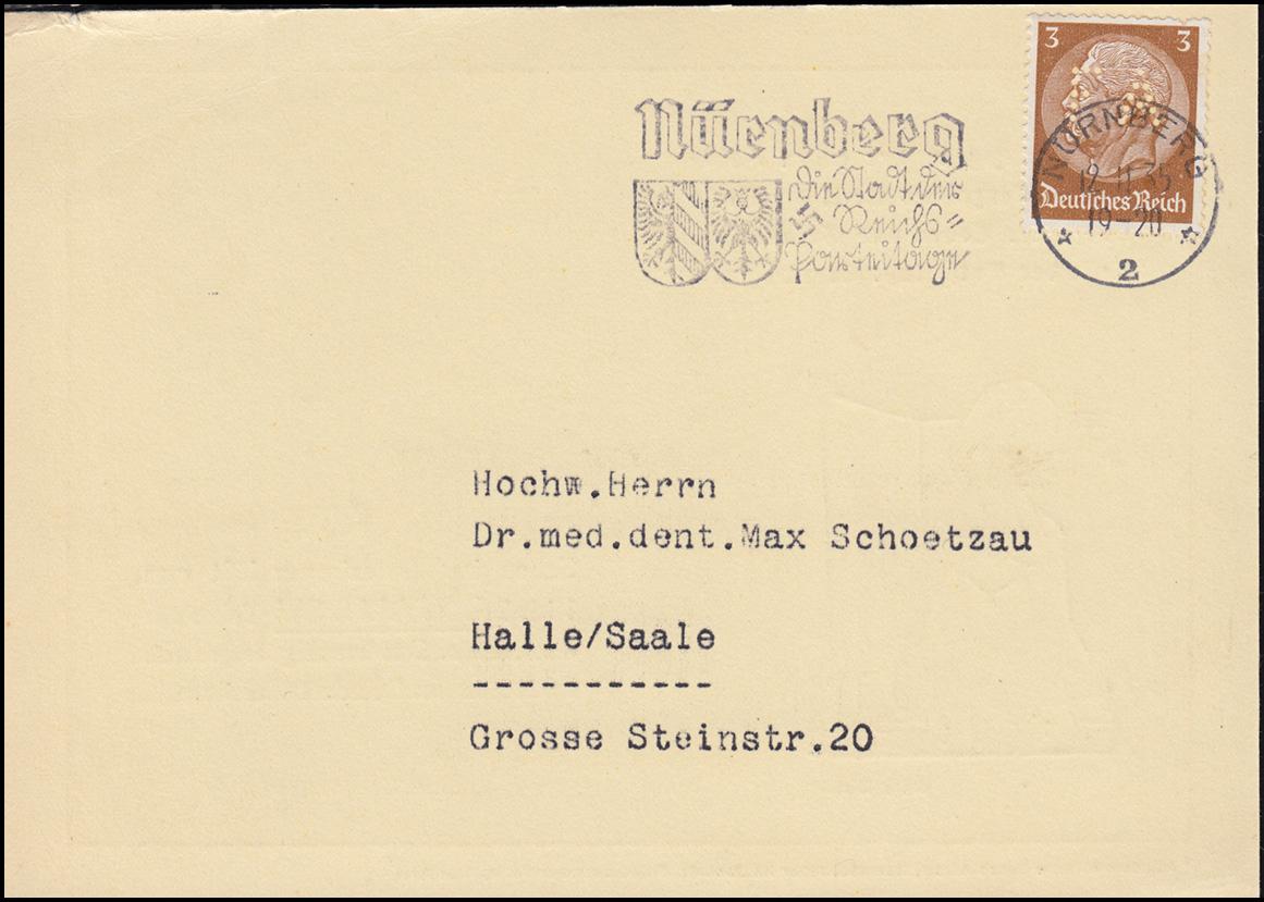 Firmenlochung FA auf Hindenburg 3 Pf. als EF auf Drucksache NÜRNBERG 12.11.35