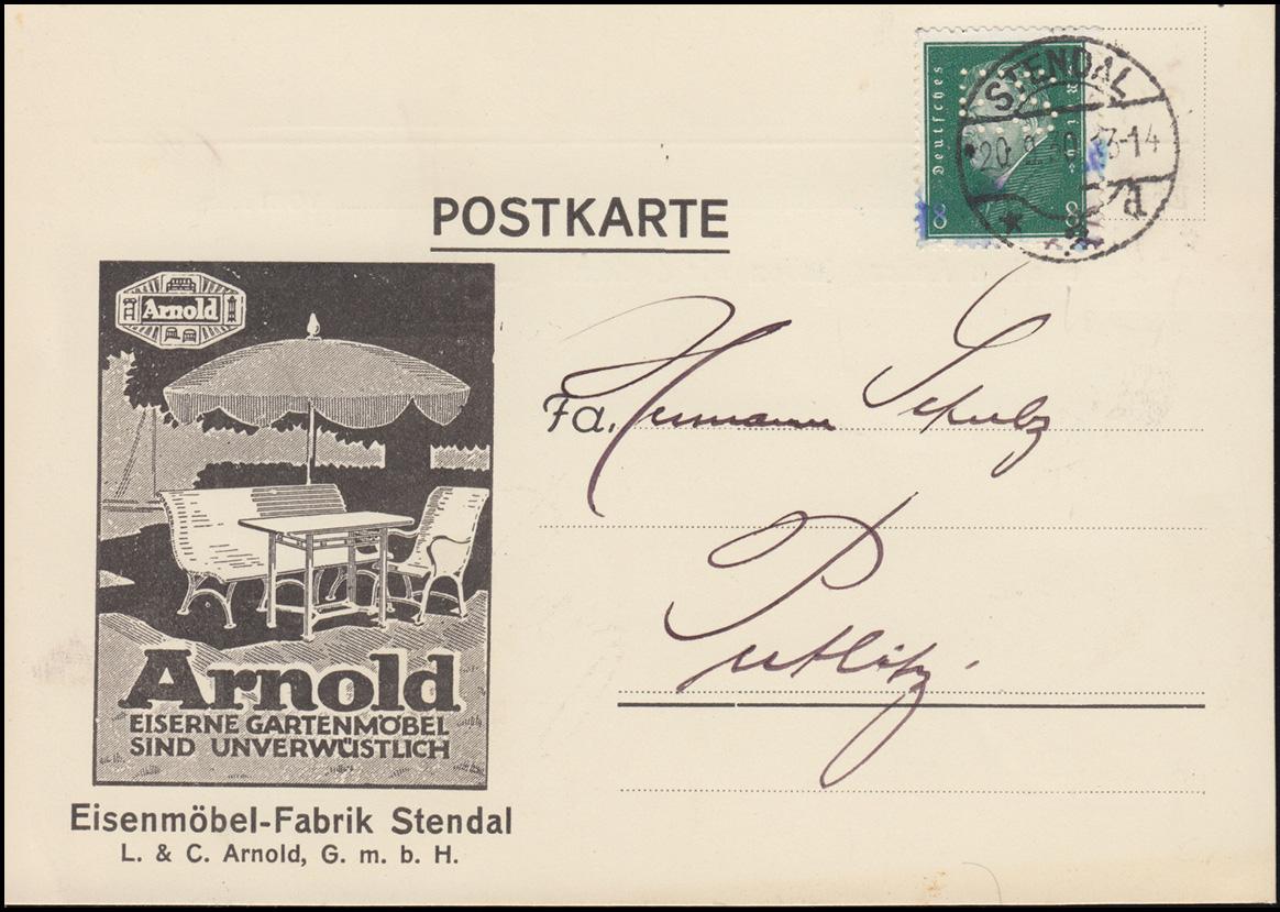Firmenlochung ES auf 412 Ebert 8 Pf als EF auf Postkarte STENDAL 20.9.30