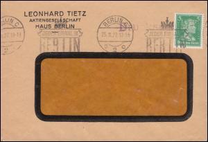 Firmenlochung LT auf 387 Schiller 5 Pf. als EF auf Drucksache BERLIN 25.11.27