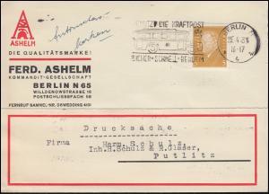 Firmenlochung FA auf 410 Ebert 3 Pf als EF auf Drucksache BERLIN 25.4.31