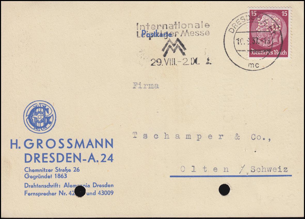 Firmenlochung HG auf Hindenburg 15 Pf. als EF auf Postkarte DRESDEN 10.8.37