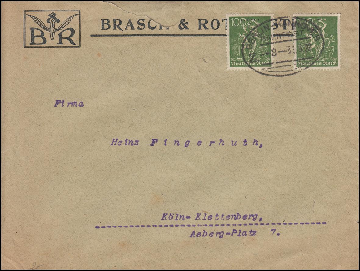 Firmenlochung von Brasch & Rothenstein auf 167 Bergarbeiter MeF BAHNPOST 31.3.22
