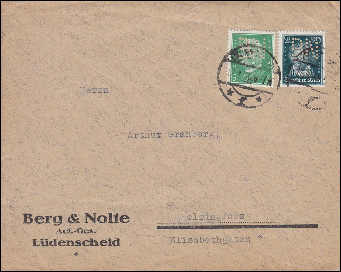 Firmenlochung BN auf 392 und 411 als MiF auf Auslands-Brief LÜDENSCHEID 17.1.30