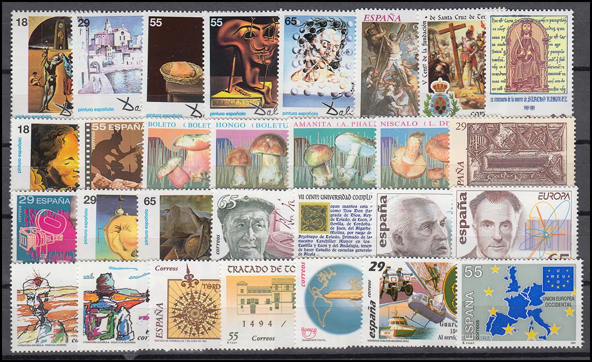 3135-3192 Spanien-Jahrgang 1994 mit Block 55 komplett, postfrisch **