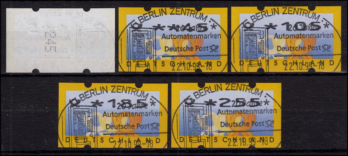 3.2 Posthörner VS-Satz 5 ATM 5-225, alle mit Zählnummer, ET-O Berlin 22.10.99