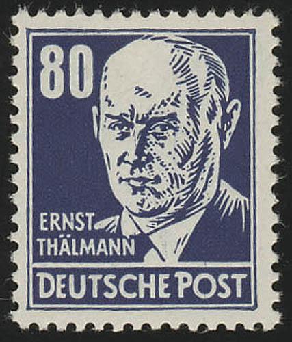 339va XI Ernst Thälmann 80 Pf blau Wz.2 XI ** geprüft