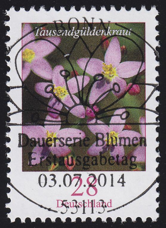 3088 Blume 28 Cent nassklebend mit UNGERADER Nummer, ESSt Bonn