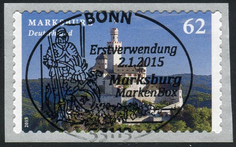 3127 Marksburg selbstklebend, GERADE Nummer, EV-O Bonn