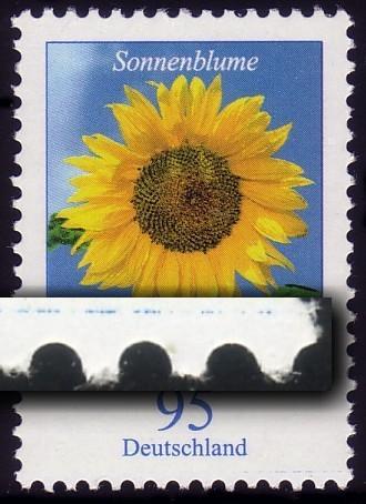 2434 Blume 95 Cent mit PLF blauer Strich im Unterrand RECHTS, **