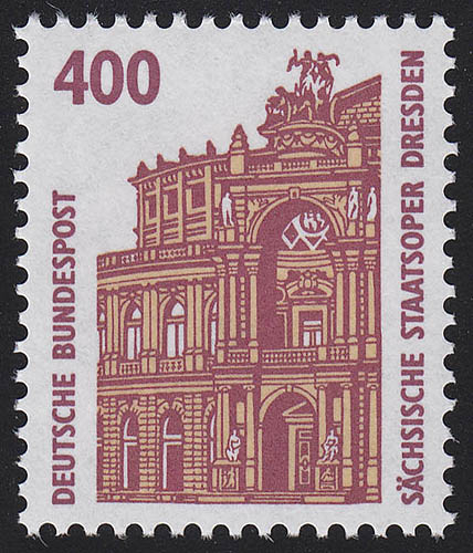 1562 v Sehenswürdigkeiten 400 Pf Semperoper Dresden weiße Gummierung, **