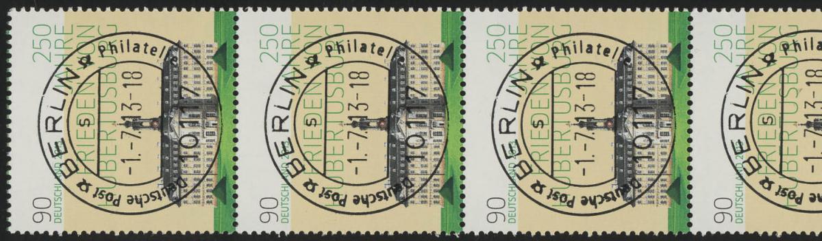 2985 Hubertusburg, rechts weiß, 5er-Streifen - UNGERADE Nr. EV-O Berlin