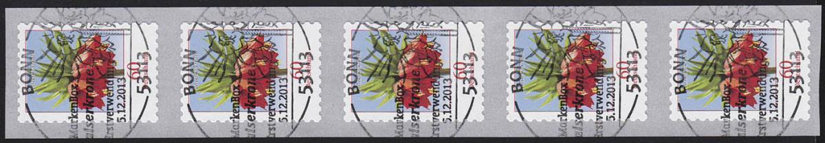 3046 Blume 60 Cent sk 5er-Streifen aus 500-Rolle GERADE Nummer, EV-O Bonn