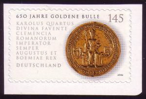 2516 Goldene Bulle SELBSTKLEBEND aus MH 62, ** postfrisch