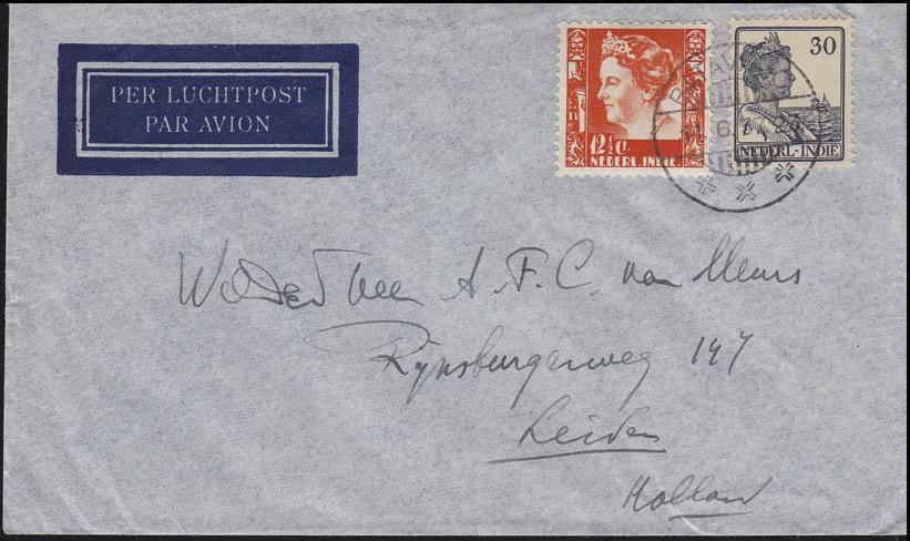 Niederländisch-Indien Königin 30 und 12 1/2 Cent MiF Lp-Brief BATAVIA 11.6.37