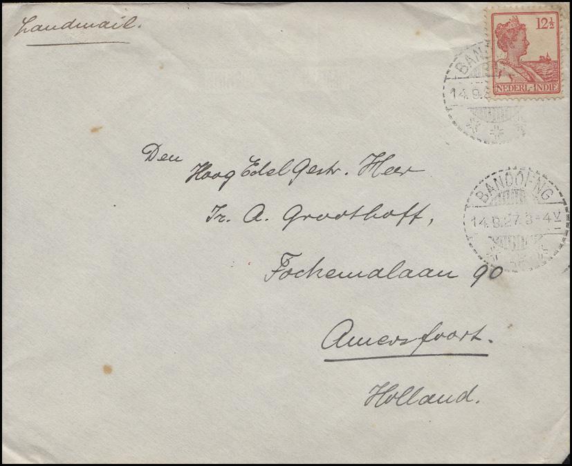 Niederländisch-Indien 142 Königin 12 1/2 C orange EF Bf BANDOENG/Bandung 14.9.27