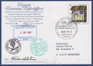 Luftschiffspost DKL 57 PESTALOZZI Geburtstag Hermann Jo Scheer STOCKACH 6.1.99
